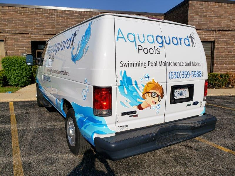 aquaguard pool van with graphics