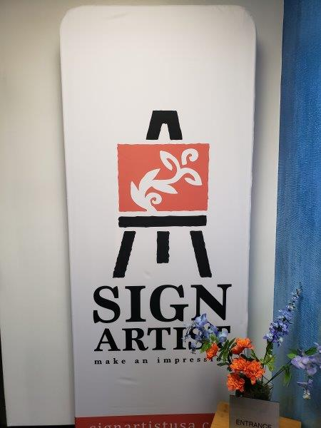 Standing fabric event sign