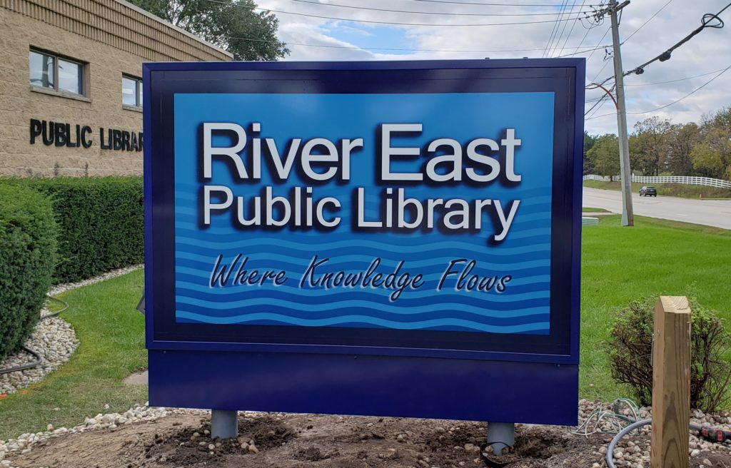 Library monument sign