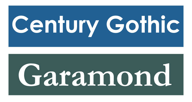 Century Gothic and Garamond fonts