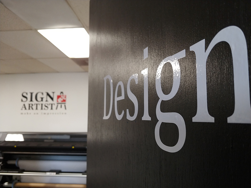 Design sign on office door