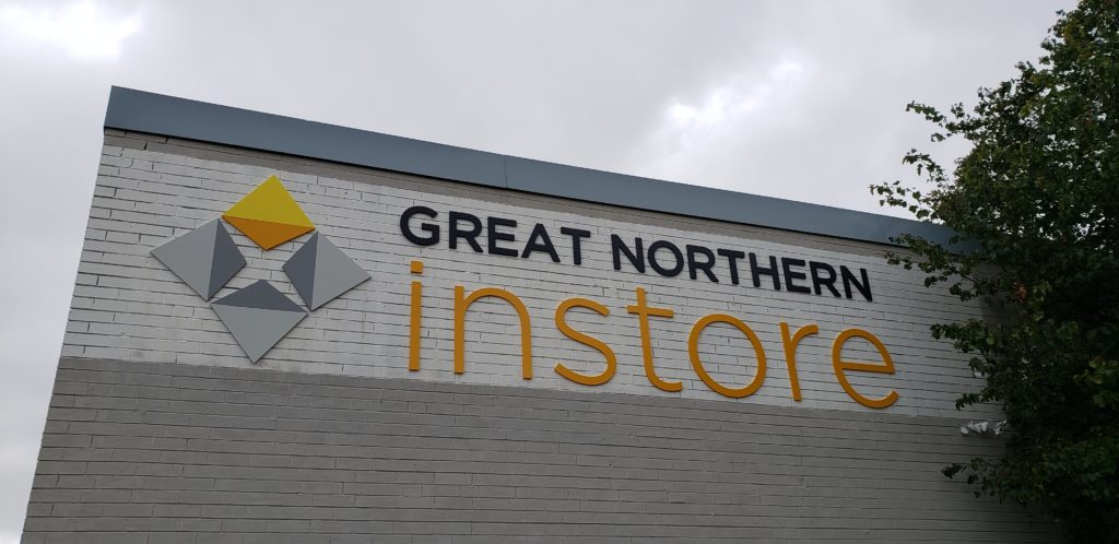 Great Northern Instore acrylic dimensional letters on a brick building